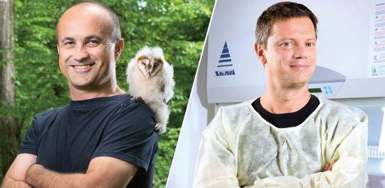 L'ornithologue Alexandre Roulin et le biochimiste Stefan Kunz